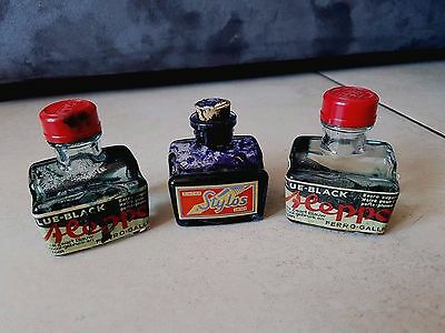 Lot 3 encre ink inchiostro tinte safety encrier inkwell écriture writing penna