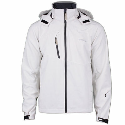 Craft Herren Gate Softshell Jacke Outdoor Funktionsjacke Kapuze Gr.L cremeweiß