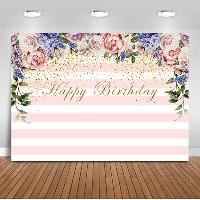 Mehofoto Happy Birthday Photo Backdrop 7x5ft Pink and White Stripes Colorful...