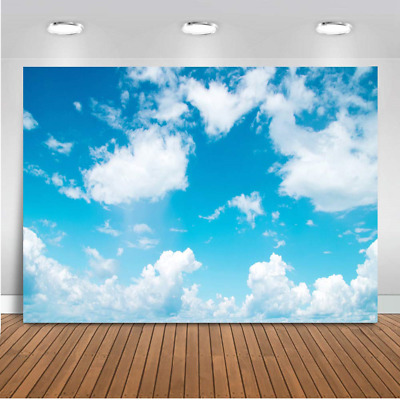 Mehofoto Blue Sky Backdrop 7x5ft Vinyl White Cloud Newborn Baby Background...
