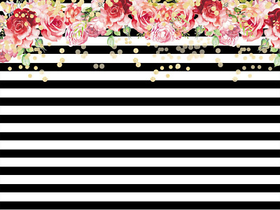 Daniu Flowers Background Studio Props Black White Stripes Wallpaper Vinyl...