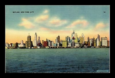 Dr Jim Stamps Us Skyline New York City Linen View Postcard