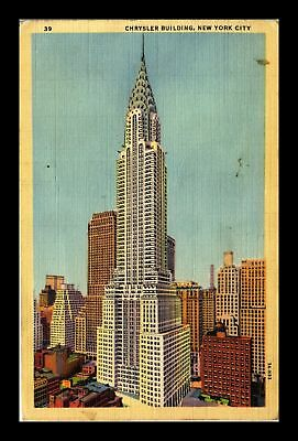Dr Jim Stamps Us Chrysler Building New York City Linen View Postcard