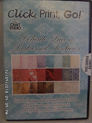 My Craft Studio Delicate Lace & Distressed Textures Click Print Go New & Sealed