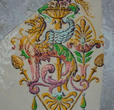 FRAGMENT BEAUTIFUL 19th CENTURY SILK, SPITALFIELDS, LYON, GRIFFON 131.