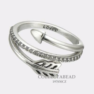 Authentic Pandora Sterling Silver Sparkling Arrow Love CZ Ring 197830CZ