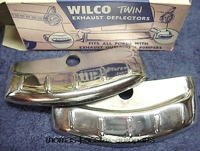 NOS Gas Station Display Accessory Chrome Dual Exhaust Tips 1950's !!