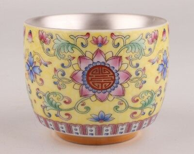 Precious Chinese Porcelain Silver Tea Bowl Decoration Hand-Painted Flowers Gift