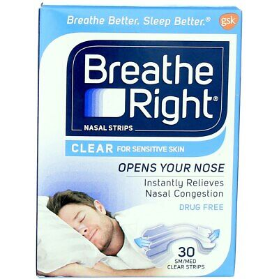 Breathe Right Clear Nasal Strips, Clear, Small/Medium, 30 Ct