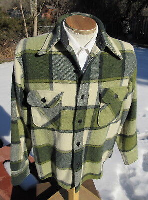 Vintage 1960s Green Plaid Shirt Jac LARGE - Light Woolen Montgomery Ward Jacket