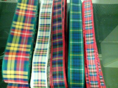 Job Lot Craft Clear Out 5 X 1 Metre Length Tartan Ribbon Card Making Hair Bows C
