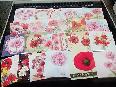 25 X Square Prints From Hunkydory Little Book Of Poppies Card Making