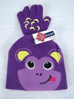 Smart Trend Purple Monkey Gloves and Beanie Hat Set Knit  Youth One Size