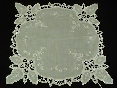 "Antique Buttenburg Lace hand embroidered Linen doily 15"" x 15"""