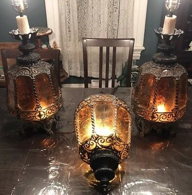 Vintage Ef Ef Industries Midcentury Modern Table Lamps And Chandelier Rare 1971
