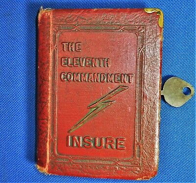 """Vintage ZELL BOOK BANK. """"The Eleventh Commandment"""" 'INSURE"""" Includes KEY"""