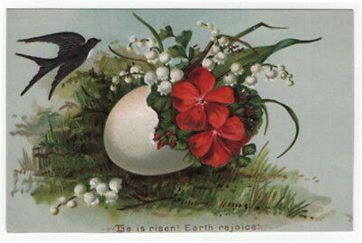 Victorian Easter Greeting Card, Pretty Red & White Flowers, Bird. Eggshell