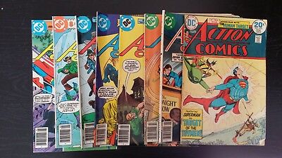 1974 Dc Comics Lot Of 8 Action Comics #432 474 476 499 502 510 511 515