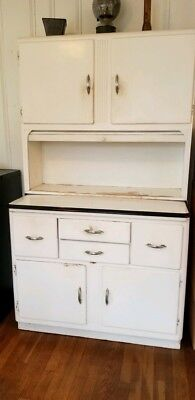 antique hoosier original not refinished all white working cabinets and drawers