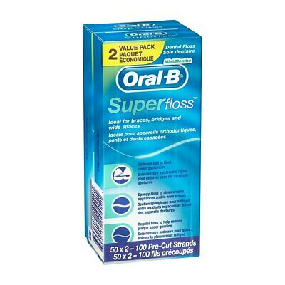 Oral-B Super Floss, Mint, 2 Ct