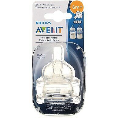 Phillips Avent Anti-Colic Nipple, Fast Flow, 2 Ct