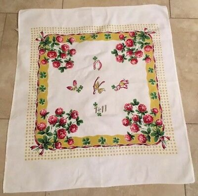 Small Vintage Tablecloth, Cotton, Wishbone, 7-11, Shamrocks, Flowers, Leaves