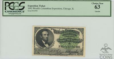 """World Columbian Expo Ticket 1893 Chicago """"lincoln"""" Series A Pcgs Choice New 63!"""