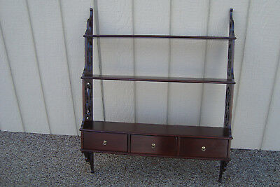 59654  Solid mahogany Whatnot Curio Shelf Bookcase with 3 drawers