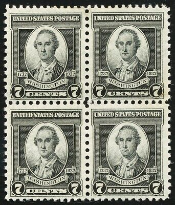 Dr Jim Stamps Us Scott 712 7C Washington Bicentennial Block Unused Og Hinged
