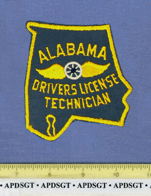 ALABAMA DRIVERS LICENSE TECH (Old Vintage) Police Patch STATE SHAPE CHEESECLOTH
