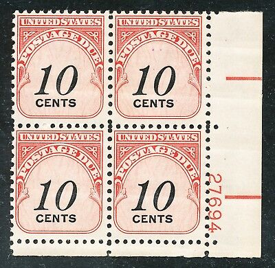 Dr Jim Stamps Us Scott J97 10C Postage Due Plate Block Og Nh No Reserve