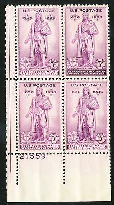 Dr Jim Stamps Us Scott 777 3C Rhode Island Plate Block Og Nh Fingerprint