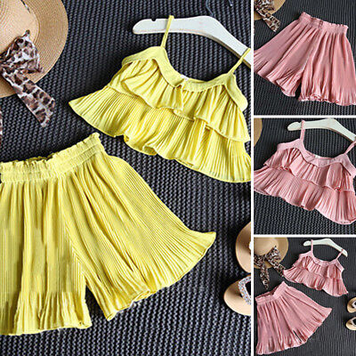 Kids Baby Girls Summer Clothes Strap T-shirt TopsShorts Pants Outfits Set