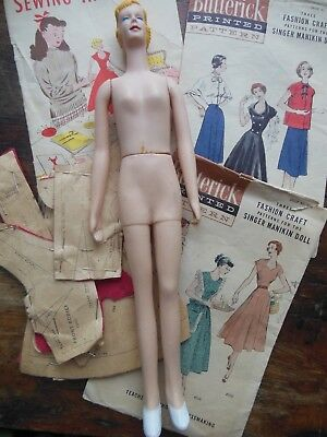 Vintage Simplicity Learn to Sew Manikin Mannequin Doll & Patterns