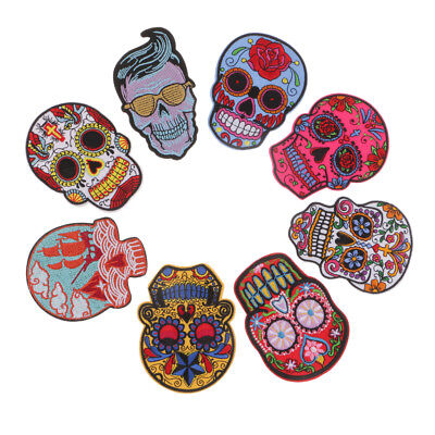 Sew on Embroidery Applique Self-Adhesive Sticker Sewing Skull Patches 8x