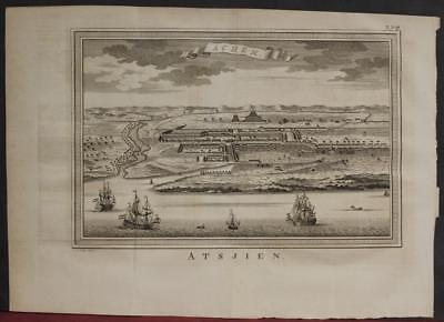 Banda Aceh Sumatra Indonesia 1757 Bellin/van Schley Rare Antique City View