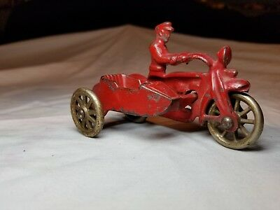 Vintage Hubley Cast Iron Cop Police Motorcycle Toy w Sidecar 1723 1724 Nice!