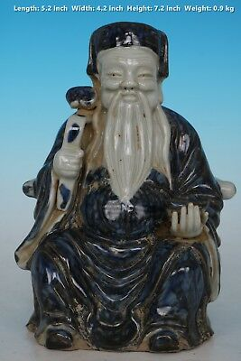 Chinese Beautiful Blue and White Rare Porcelain Immortal Statue