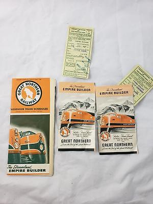 1950 Great Northern Railway Empire Builder Train Timetable & tickets