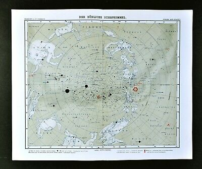1911 Stieler Map - South Sky Star Chart Canopus Sirius Orion - Zodiac Astrology