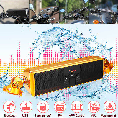 Universal Motorcycle Audio Radio Stereo Speaker SystemLED Display Bluetooth MP3