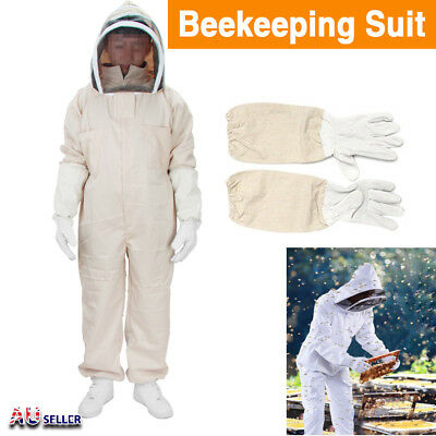 Full Beekeeping Suit Bee Suit Heavy Duty with Leather Ventilated Keeping Gloves