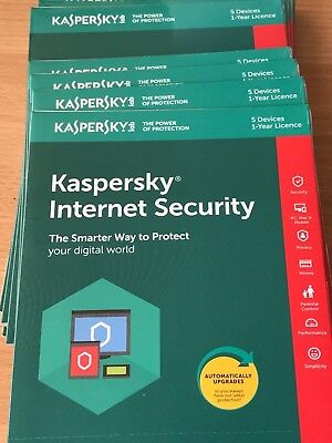 Kaspersky Internet Security 2018 2019  1 ANNO Licenza 5 PC Nuovo ESD