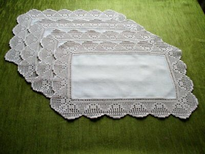 VINTAGE PLACE MATS with HAND CROCHET EDGE - SET of 4