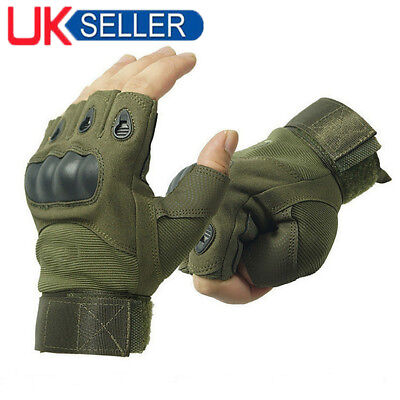 Fingerless Tactical Hard Knuckle Half Finger Gloves - Army Military Airsoft Work