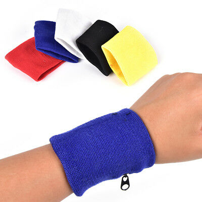 1 Pair Wrist Sweatband Running Athletic Wallet Armband Zipper Pocket Wristband