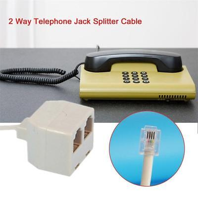 Telephone Socket Phone Adapter 2 Way Land Line Converter Jack Splitter Cable