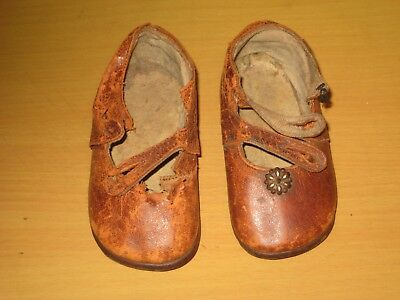 Pair Of Antique Leather Hand Made Victorian Childrens Shoes.