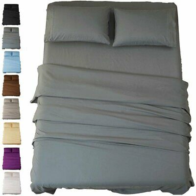 1800TC Ultra SOFT - 4 Pcs FLAT & FITTED Sheet Set Queen/King/Super Size Bed Hot