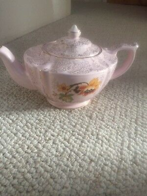 Vintage Sadler Pale Pink Floral Teapot With Embossed Gokd Flowers
